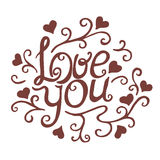 Love you with floral ornament Royalty Free Stock Image