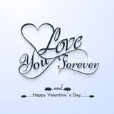Love you forever for happy valentine's day beautiful card Royalty Free Stock Photos