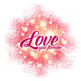 Love you forever sign on shining red glitter Royalty Free Stock Images