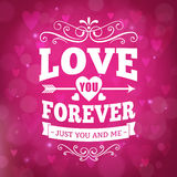 Love you forever typography greeting card background Stock Images