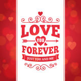 Love you forever typography greeting card background poster Royalty Free Stock Photography