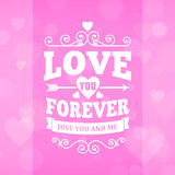 Love you forever typography greeting card background poster Stock Image