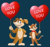Love you. Funny cartoon dog and cat holding heart shape balloons Royalty Free Stock Image
