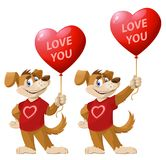 Love you. Funny cartoon dog, symbol of the year 2018, holds hear Stock Photography