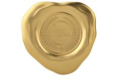 Love you gold wax seal.3D illustration. Love you gold wax seal. 3D illustration Stock Photography