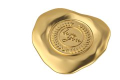 Love you gold wax seal.3D illustration. Love you gold wax seal. 3D illustration Stock Images