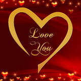 Love you in golden heart in red. Text love you in golden heart with shining hearts over red background Stock Image