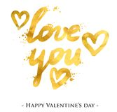 Love you golden text. St. Valentine`s Day greeting card template Stock Photography