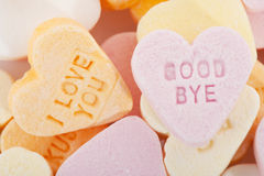 Love you and goodbye candy hearts royalty free stock photography