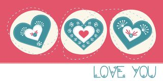 Love You greeting card. Love You cute greeting card Stock Photo
