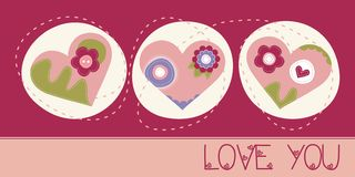 Love You greeting card. With 3 hearts Royalty Free Stock Photos