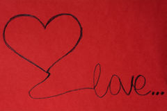 Love you  Greeting Card with red heart. Happy Valentine's Daygreeting card .Red background Stock Photography