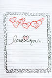 Love you  Greeting Card with red hearts Royalty Free Stock Image