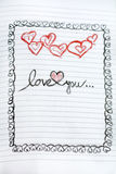Love you  Greeting Card with red hearts Royalty Free Stock Photography