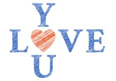 Love you with hand drawn letters, vector Royalty Free Stock Images