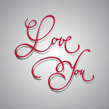 Love you. 'love you' hand lettering calligraphic label Royalty Free Stock Photography