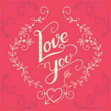 Love you hand-lettering card Stock Images