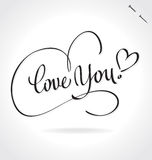 LOVE YOU hand lettering (vector) Royalty Free Stock Images