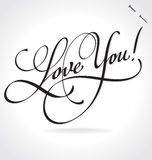 LOVE YOU hand lettering (vector) Royalty Free Stock Image