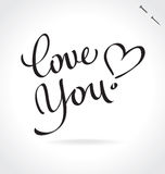 LOVE YOU hand lettering (vector) Stock Photos