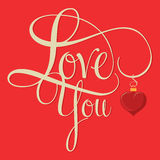 LOVE YOU hand lettering Stock Image