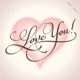 Love You hand lettering (vector) stock images
