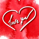 Love you, hand writing. In vector heart frame on the red stylized watercolor background Royalty Free Stock Images