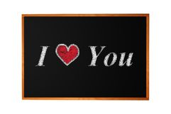Love you handwritten with chalk on blackboard Royalty Free Stock Photos