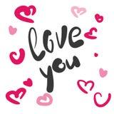 Love you handwritten inscription. Stock Photos