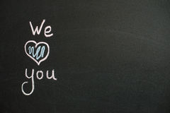 We Love You. Handwritten message Stock Photo