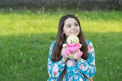 Love you. Happy child cuddle teddy bear outdoors. Valentines gift. Valentines day. Childhood games and toys. Summer