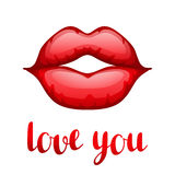 Love you. Happy Valentine day greeting card. With bright red lips Royalty Free Stock Images
