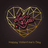 LOVE YOU. Happy Valentine's Day abstract background. Gold geometric heart. LOVE YOU. Happy Valentine's Day abstract background stock illustration