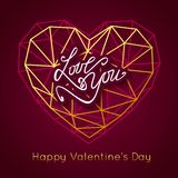 LOVE YOU. Happy Valentine's Day abstract background. Gold geometric heart. Calligraphic greeting card vector illustration