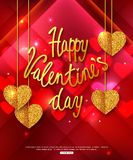 LOVE YOU. Happy Valentine's Day abstract background. Gold geometric heart. Calligraphic greeting card. LOVE YOU. Happy Valentine's Day abstract background. Gold royalty free illustration