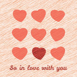 'So In Love with you' Happy Valentine's Day Romantic Card. Love Card with hearts. Stock Photo