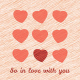 'So In Love with you' Happy Valentine's Day Romantic Card. Love Card with hearts. Royalty Free Stock Photo