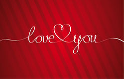 Love You Heart. Hand drawn Lettering. Greeting Card Royalty Free Stock Image