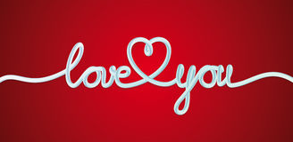 Love You Heart. Hand drawn Lettering. Greeting Card Royalty Free Stock Photography