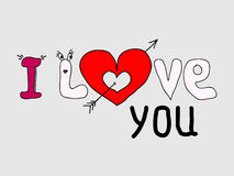 Love you and heart. I Love you text a red heart. Vector Illustration Royalty Free Stock Image