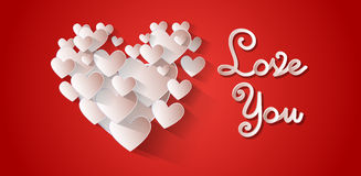 Love You Heart Shape Valentine Day Greeting Card Royalty Free Stock Photo