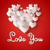 Love You Heart Shape Valentine Day Greeting Card Royalty Free Stock Images