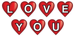 Love you hearts Stock Photo
