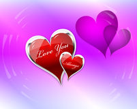 Love You Hearts double. Love You Always hearts and translucent shadow doubles with rings Stock Photos