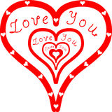Love You inside Red Hearts Royalty Free Stock Photography