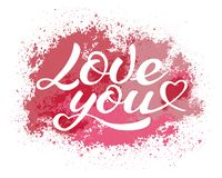 Love you lettering, calligraphic vector inscription royalty free stock photos