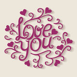 Love you lettering with floral ornament Royalty Free Stock Photography