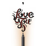Love you lettering Royalty Free Stock Image