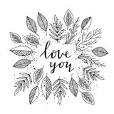 Love you - lettering and leafs frame vector royalty free illustration