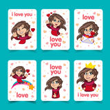 Love you lettering template for girlish t shirt print design. Valentine s Day greeting card. Cute girl character. Vector fashion illustration vector illustration